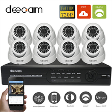 Deecam High Quality New HD 1200TVL 8CH 720P Realtime Record CCTV System AHD DVR Kit Security Camera Support 3G/4G Remote View