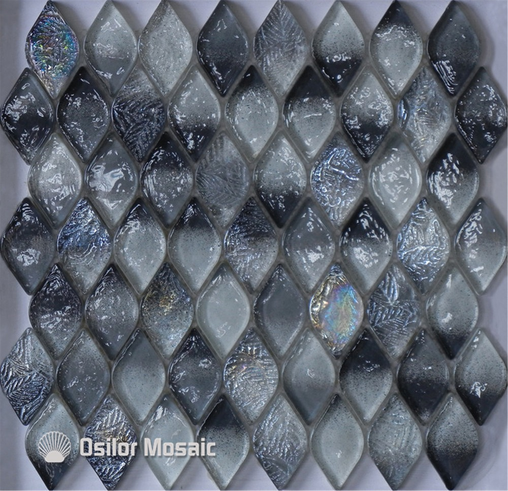Free shipping rhombus pattern black glass crystal mosaic tile for bathroom or living room wall tile<br>