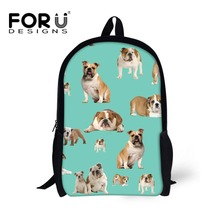 FORUDESIGNS 3D Animals Kawaii Dog Cow Print School Backpack for Kids Boys Girls High Quality Children Students Rucksack Mochila(China)