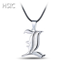 Buy HSIC 10PCS/LOT Hot Animation Cartoon Around Death Note L Pendant Necklace Silver Plated Necklace Black Rope Chain Dropshipping for $14.08 in AliExpress store