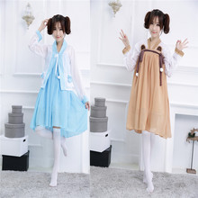 Vintage Kimono Cosplay Costume Japanese Anime Maid Dress Fancy Lolita Dress for Halloween Party Game Costume Chinese Hanfu Style