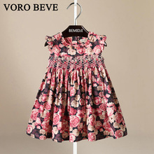 VORO BEVE Baby Girls Clothes Fashion Summer Cool Color Roses Lovely Princess Dress Fashion Tide Edition Cotton Princess Sundress