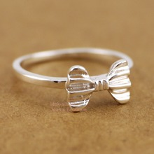 Wholesale 925 Sterling Silver Bowknot Ribbon Knuckle Midi Mid Finger Pinkie Ring Size 2.25~4.75 A3053(China)
