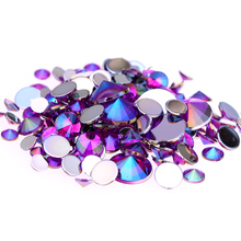4mm 5mm 6mm 10mm And Mixed Sizes Purple AB Acrylic Rhinestones For Nails Design Crystal 3D Nail Art Glitter Decorations(China)