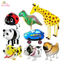 HEY FUNNY 2pcs/lot Panda Walking Animal Balloons 15type Inflated Helium Foil Balloons Can Walk Children Birthday Party Gift Toy