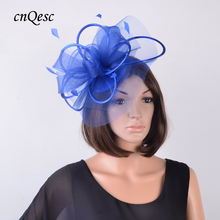 Royal blue Sinamay party Hat crin Fascinator with feathers and satin loops for Kentucky Derby,wedding,church,races,QF124(China)