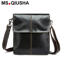 MS.QIUSHA Genuine leather bag men shoulder messenger bags black men leather real leather square crossbody bag cross body bags