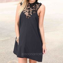 Elegant Fashion Sleeveless Round Neck Joint Dresses Hollow Out Lace Flower Dress Loose Sexy Short Dress  Black/White LX*E3244*LY