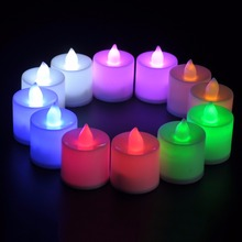 Polypropylene Plastic 6 Colors Candle Shape LED Fliker Flameless Candles Light For Wedding Party Holiday Decoration