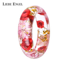 LIEBE ENGEL Dried Flower Resin Bracelet Bangle Real Flower Inside Of Cuff Love Bracelet Jewelry Best Gifts For Women And Friends(China)