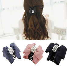 LNRRABC Fashion Women Bowknot Rhinestones Simulated Pearl Hair Clip Claw Headwear Hair Accessories Barrettes Hair Combs Hair Pin(China)