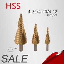 3Pcs/lot 4-12/20/32mm HSS Steel Large Step Cone Titanium Coated Metal Drill Bit Cut Tool Set Hole Cutter 4-12/20/32mm Wholesale