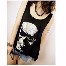 New Women's T Shirt Vintage Tassel Open Tank Pop Back Skull Punk Singlet Long Tee T-Shirts/Sexy Lady Top-448E
