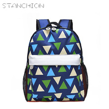 STANCHION 5 Colors Multicolor Triangle Cute Kindergarten School Bags Personality Boys And Girls Children 's School Bags Backpack(China)