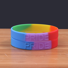 30PCS/Lot Rainbow Colour Plain silicone bracelet china Gay blank silicone wristband Special shape show yourself rubber band(China)