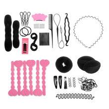 20pcs/Set Hair Styling Tools Hairpins Clip Rubber Band Hair Band Sponge Pad Hair Device Curling Stick Comb Beauty Hair Style Kit
