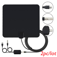 2pc/lot wholesale price Indoor TV Antenna High Gain Amplifier HDTV Digital TV Signal Reception 50 Miles Range For DVB-T2 DVB-T(China)