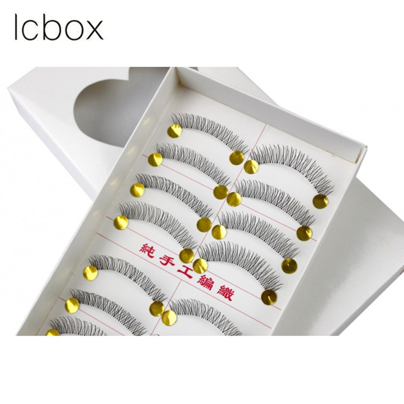 LCBOX Free shipping 10 Pairs Makeup False Eyelashes Handmade Natural Fashion Soft Long Eye Lash Extension Cosmetic kits