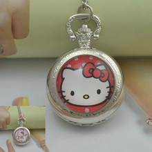 fashion hello kitty pocket watch necklace woman fob watches hellokitty black round convex lens glass picture cute lady 2016 new(China)