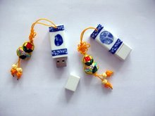 Free shipping: China traditional nature customs 8GB Ceramic USB flash driver (10pcs/lot)(Hong Kong)