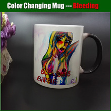 DIY Photo Magic Color Changing Coffee Mug printing with Bleeding Barbie From a famoust artist painting pictures