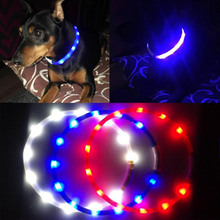 Quality Adjustable Rechargeable Flashing Night Dog Collars USB Luminous Pet Collar LED Light Dog Collar Teddy Flash Collar Pet(China)