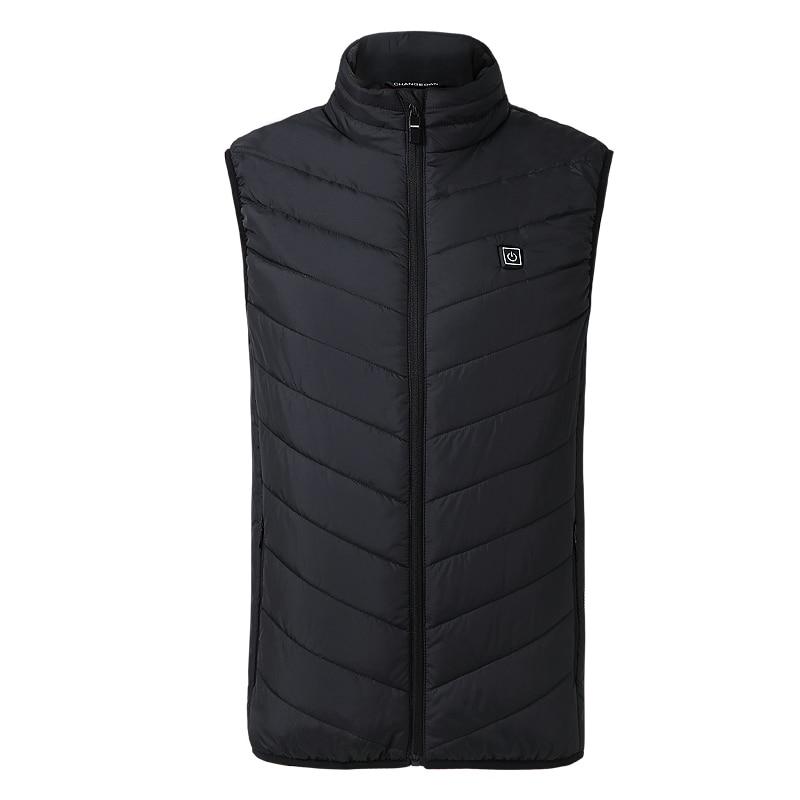 Hot Men Women Electric Heating Vest USB Hooded Heated Coat Jacket Temp