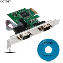PCI-E PCI to Dual Serial DB9 RS232 Express Serial Controller Adapter Card 2-Por #L059# new hot