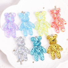 20pcs 28*45mm DIY shiny Violent bear flat back resin charms necklace pendant keychain charms for DIY decoration(China)