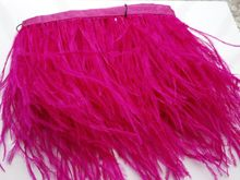 Wholesale perfect 1 yards high quality natural ostrich feathers ribbon 3.5-4inch/8-10cm Decorative diy rose(China)