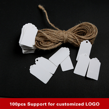100pcs white labels lace scallops head luggage wedding etiquette Rating DIY chain Blank hang tag Kraft Be customized LOGO(China)