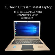1920x1080 IPS 13.3'' Win10 Laptop Metal Notebook Wifi In-tel Apollo Lake N3450 6G DDR3 32G EMMC +128G SSD 5000 Battery bluetooth(China)