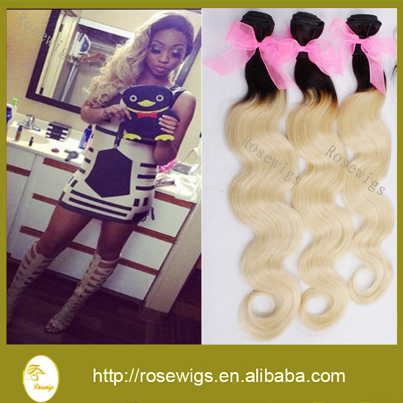 Blonde Ombre Hair Extensions 3Pcs/lot Two Tone 1b/#613 Blonde 7A Unprocessed Virgin Human Hair Brazilian Body Wave<br><br>Aliexpress
