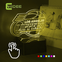 CNHIDEE USB Novelty NBA Lamp Clippers Basketball Team Made 3D Seven Colors Home Lighting Adjustable Christmas NightLights