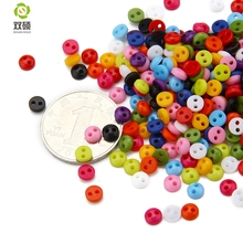 Shuan Shuo 5MM 2 Eyes Printed Colorful Resin Round Buttons For Hat, Shoes, Clothes Diy Accessories Mixed Color 100PCS/Bag(Hong Kong)