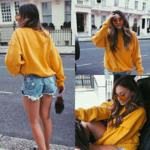 Autumn&Winter Women Girl Fashion Long Sleeve O-Neck Cotton Loose Casual Hoodie Yellow Pullovers S-L(China)