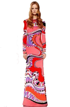 XXL Women's 2015 Spring New Arrival Luxury Brands Long Sleeves Colourful Bohemian Print Straight Jersey Silk Maxi long Dress