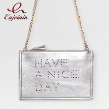Good quality fashion metal sequins letters tassel trend hand bag envelope bag ladies shoulder bag chain handbag casual purse