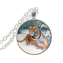 Tiger necklace punk animal pendant winter jewelry big cat picture necklace glass cabochon gem pendant silver chian choker gifts