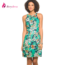 Buy Berydress Elegant Womens Summer Dress Sexy Halter Neck Sleeveless Printed Flowers Casual Floral Dresses Short 2017 New Arrival