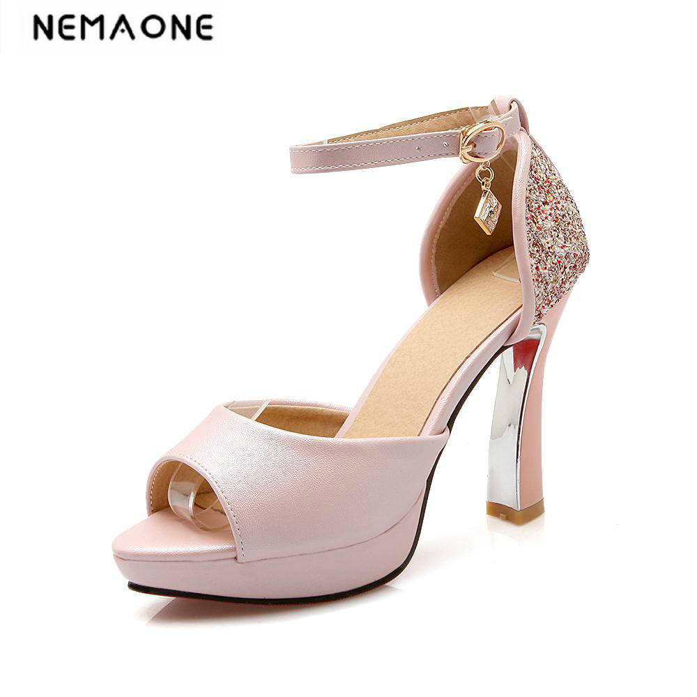 New Sexy Fashion glitter Sandals for Women Platform peep Toe Summer Wedding Shoes High Heels Sandals size 34-43<br>