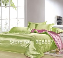 hot pink green mix match colors Smooth tribute silk satin bed linen girls bedding comforter queen/full quilt duvet covers set