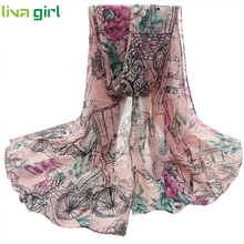 Vintage Flower Voile Silk Stole Scarves Women Spring Summer Lady Long Neck Wraps Shawl Scarf Neckerchief  Pashmina Foulard Ma1