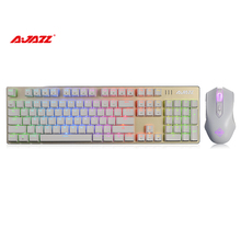 Ajazz Warder Best Stability Wired 104 Keys Keyboard & 8 keys LED Gaming Mouse USB Connection Ergonomic 750/1200/1600/2400 DPI(China)