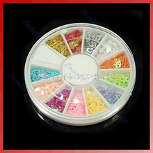 +12 Colors Glitter Colorful Star Paillette Spangles Nail Tip Decorator DIY Nail Art Disk HTY07