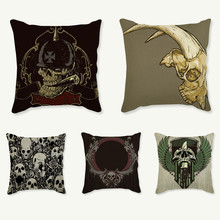 Fashion Skulls Cushion Cover Cotton Linen Throw Pillows Case Cool Men Cushion Covers Bar Home Decorative Pillowcases cojines(China)