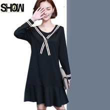 Autumn Winter Dresses New Design Japan Style Women Fashion Long Sleeve Bow A Line Casual Ladies Black Plus Size Dress 5XL 4XL 3X(China)