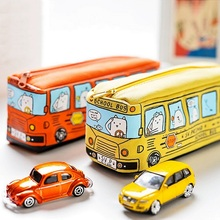 Creative Cute Canvas School Bus Pencil Case with Large Capacity Kid Gift Car Pencil Bag School Supplies Blue,Red,Yellow,Orange