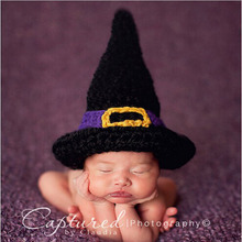 Retail Handmade Crochet Magician Beanies Halloween Witch Hat Cap Toddler Infant Party Costume Newborn Photo Props(China)