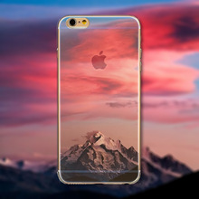 New Fashion Soft Silicon Mountain Ocean Landscape Case Cover For iphone 5 5s SE 6 6s Plus 6Plus Transparent Back Skin Phone Bag